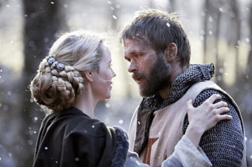 Scene from near the end of Arn: The Knight Templar with Sofia Helin as Cecilia (left) and Joakim Nätterqvist (right)