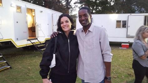 Derek Roberts (right) with Jaimie Alexander (left) behind the scenes of Blindspot