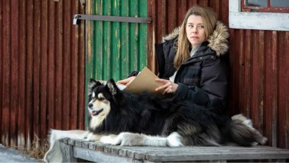 Image shows Rebecka Martinsson with a case file and Tintin the dog.