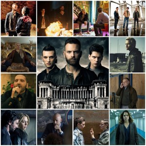 Image is a photo montage of scenes from Suburra: Blood on Rome. The central image is the season 3 theatrical poster for the show.