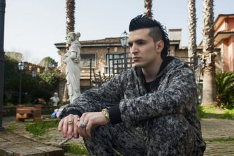 Spadino Anacleti outside the family home in Suburra: Blood on Rome