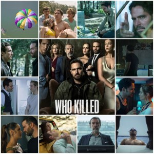 Photo montage of scenes from Who Killed Sara? The central is the theatrical poster for the show.