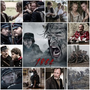 Photo montage of scenes from the miniseries 1864. Central image is the theatrical poster for the show.