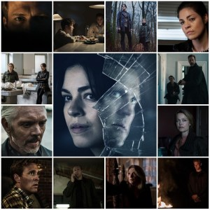 Photo montage of scenes from Blinded: Those Who Kill. Central image is cropped from the theatrical poster for the show.