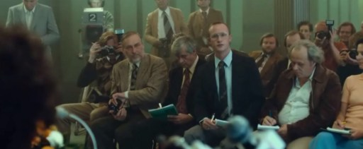 Scene from the film Borg McEnroe (2017) with Jim High as a reporter