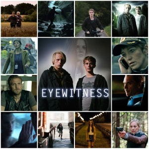 Photo montage of scenes from Eyewitness. Central image is a theatrical poster for the show.