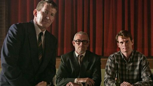Thomas Bo Larsen (left) Søren Malling (centre) Peter Plauborg (right) on the set of The Idealist