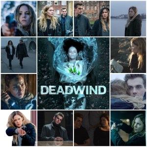 Photo montage of scenes from Deadwind. Central image is the theatrical poster for the show.