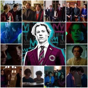 A photo montage of scenes from Young Royals. Central image is the theatrical poster for the show