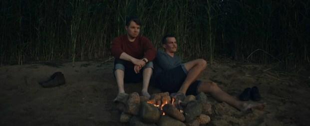Hannes Suominen (Mikko Kemppainen) left and Johannes Holopainen (Lauri Räihä) in a scene from All the Sins