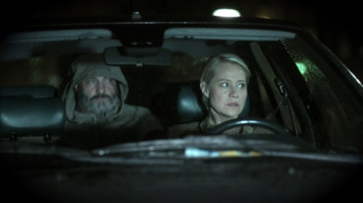 Kim Bodnia (left as Rasmus Holm Jensen) with Trine Dyrholm (right as Mia) in a scene from The Shooter