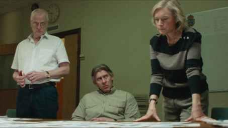 Anders Beckman as Per-Åke Åkesson (left) Lotten Roos as Monica Olhed (right) Håkan Bengtsson as Erik Johansson (centre) in a scene from The Hunt for a Murderer (2020)
