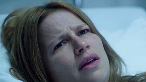 Kathrine Thorborg Johansen as Livefeeling puzzled in a scene from Post Mortem: No One Dies in Skarnes
