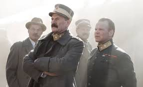 Jesper Christensen as H.R.H. King Haakon Vll (left) with Anders Baasmo Christiansen as H.R.H. Crown Prince Olav (right) in a scene from The King's Choice