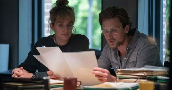 Mikkel Boe Følsgaard (right) as Mark Hess and Danica Curcic (left) as Naia Thurin in a scene from The Chestnut Man
