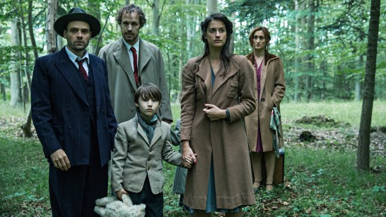 Danica Curcic (front right) as Miriam Itkin, David Dencik (front left) as Arne Atkin with Mads Riisom (rear left) as Emmet Levy and Marijana Jankovic (rear right) as Julie Levy in a scene from Across the Waters