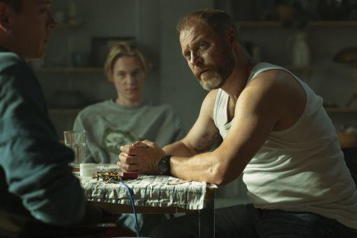 Jacob Lohmann as Morten Dalsgård (right) Elias Budde Christiansen as Albert Dalsgård (centre) and Arian Kashef as Jamal (left) in a scene from When the Dust Settles