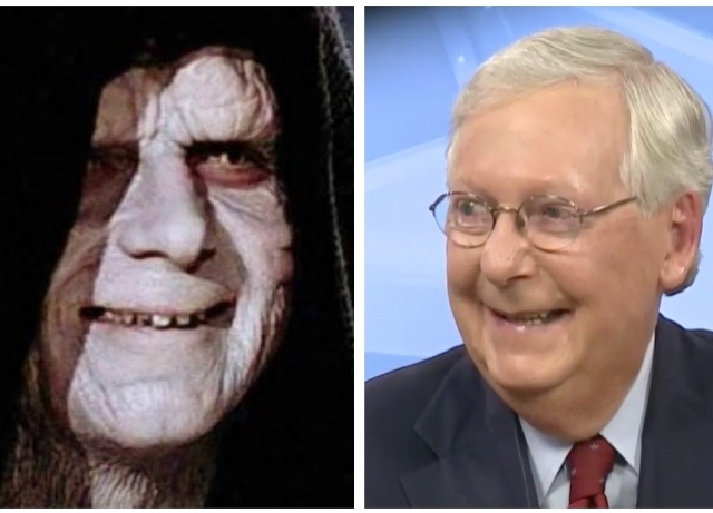 220,000 Americans dead – Mitch McConnell chuckles like Emperor Palpatine