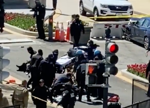 Capitol on alert after man rams barricade