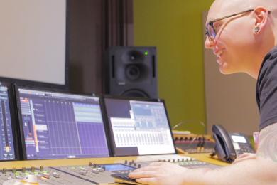 """Devin Delaney recording """"America La Hermosa"""""""
