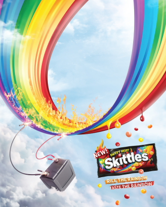 Jumper Cable print ad for Skittles Sweet Heat