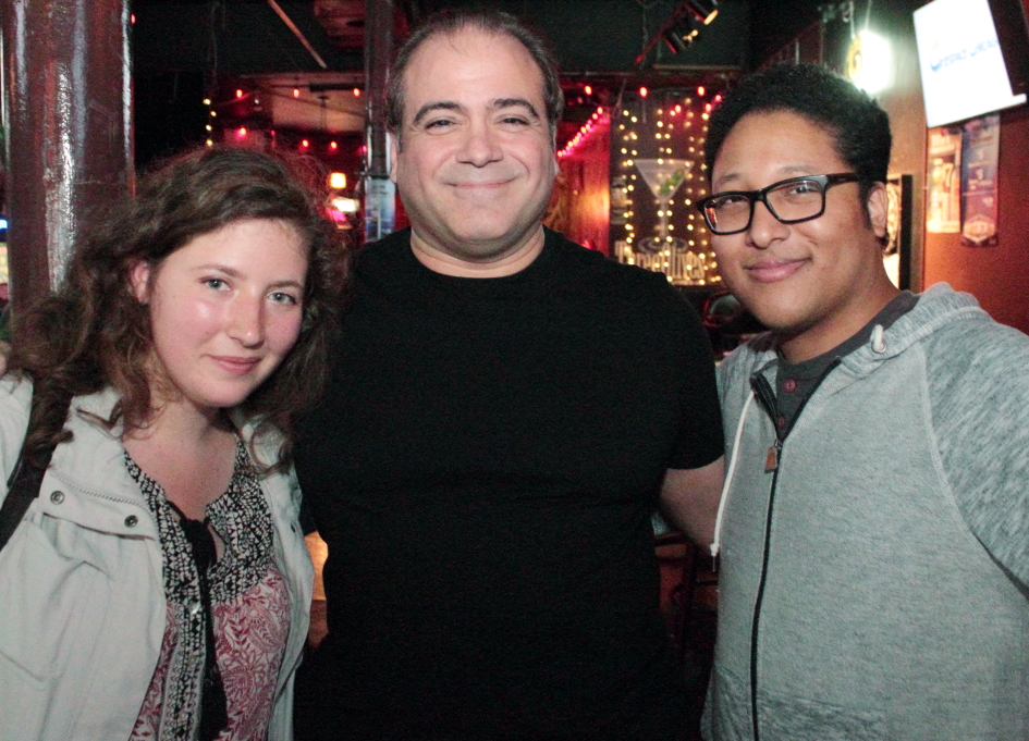 Reel Chicago's Julia Sarata, 48HFP Chicago producer Jerry Vasilatos, and Aaron Rasbury mix it up in the Lincoln Tap Room