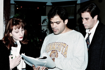 """Mary McCloud, Jerry Vasilatos, and Michael Kelly on the set of """"Solstice"""""""
