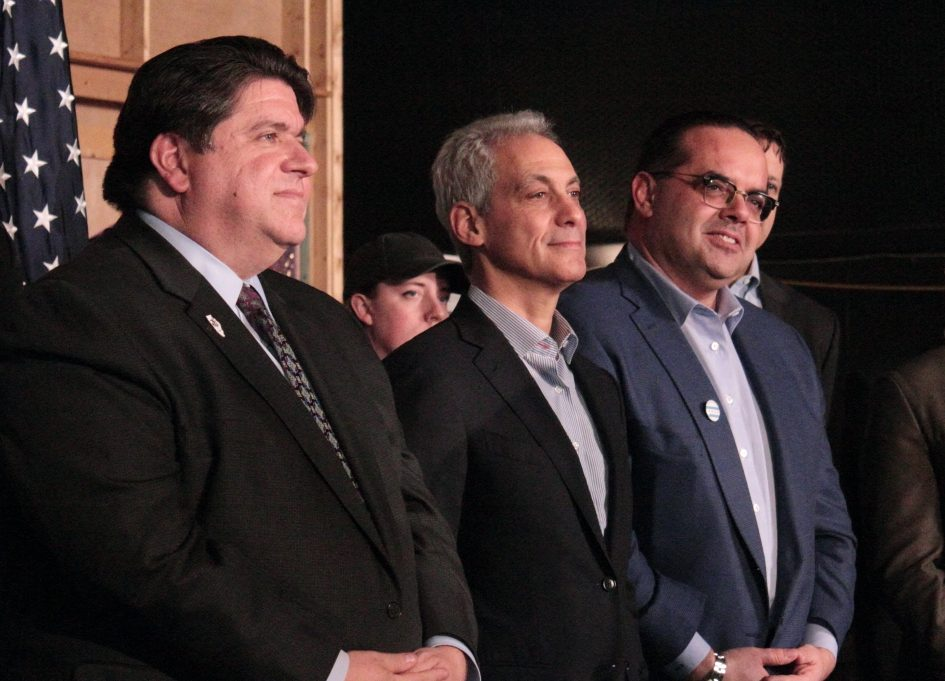 JB Pritzker, Rahm Emanuel, and Alex Pissios at Cinespace Studios