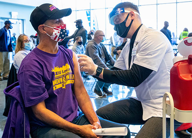 Vaccination site BY union workers FOR union workers