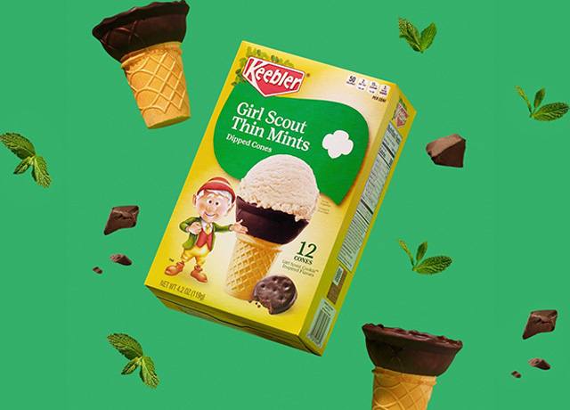 Keebler+Girl Scouts= ice cream cones dipped in thin mints
