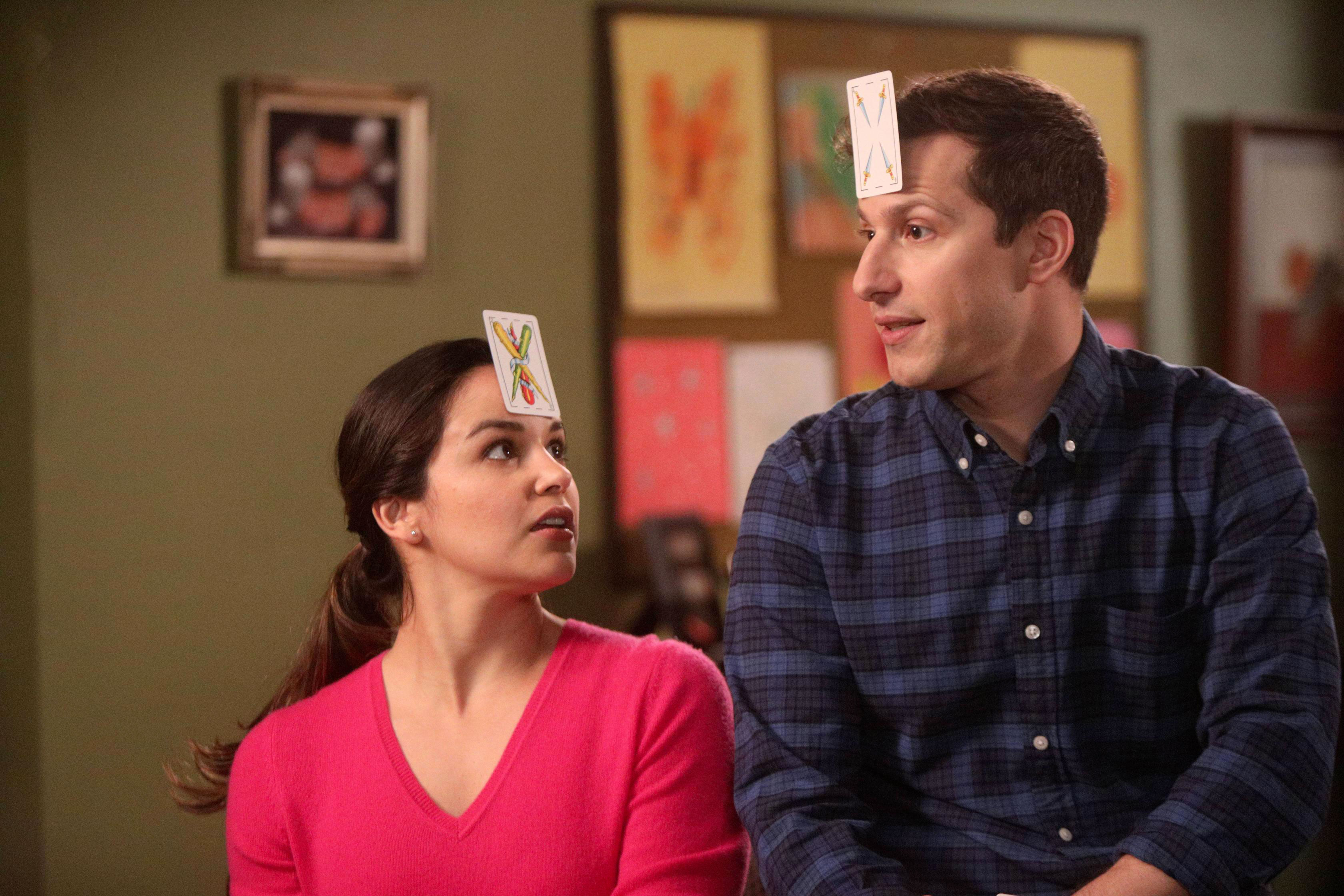 "Andy Samberg and Melissa Fumero in ""Brooklyn Nine-Nine"""