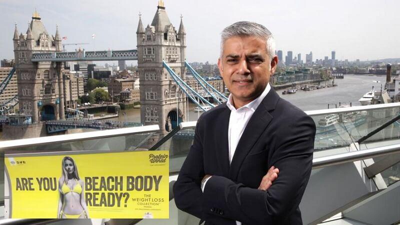 Londons borgmester, Sadiq Khan, har besluttet at forbyde 'sexistiske' reklamer på busser og i metroen i London. Billede: Pressefoto/screenshot.