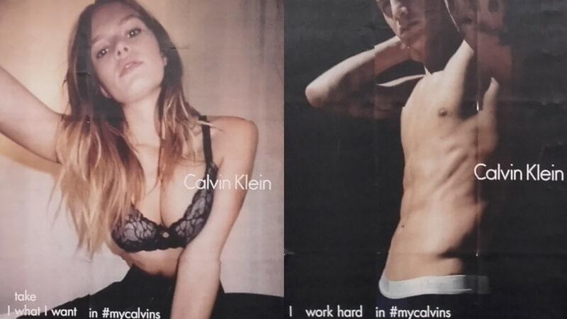 Reklameplakater for Calvin Klein. Til venstre den kvindelige model Anna Ewers. Til højre den mandlige fodboldspiller James Rodriguez. Foto: Peter Mulvany.