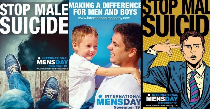 Den 19. november er International Men's Day. Årets tema er mænds selvmord. Billede: Plakater fra internationalmensday.com.