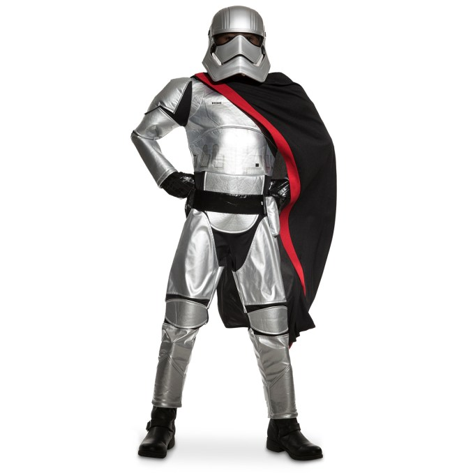 Captain Phasma Costume for Kids - Star Wars: The Force Awakens. .Available at Disney Store.MSRP: $59.95.Available: September 4. .Loyal soldiers in the First Order will cut an imposing figure in our Captain Phasma Costume for Kids. The silver suit is accompanied by a mask, belt with pouch, and a cape perfect for making sweeping entrances.