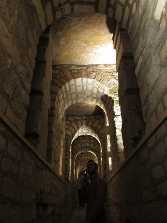 One of the long hallways down into the tunnels.