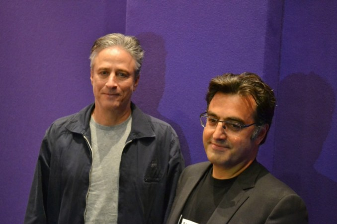 John Stewart and Maziar Bahari. Photo by Liz Whittemore