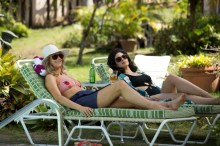 (L-R) Judy Greer as Ellen Hoffman and Isabel Arraiza as Cristina DeLorean in Universal Pictures Content Group's crime thriller comedy DRIVEN. Photo courtesy of Universal Pictures Content Group.