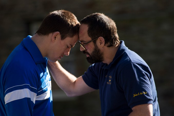 Left to right: Channing Tatum as Mark Schultz and Mark Ruffalo as Dave Schultz Photo by Scott Garfield, Courtesy of Sony Pictures Classics