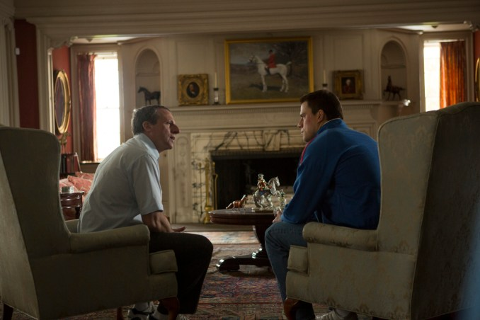 Left to right: Steve Carell as John du Pont and Channing Tatum as Mark Schultz Photo by Scott Garfield, Courtesy of Sony Pictures Classics
