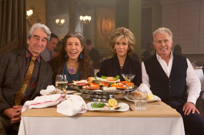 "Sam Waterston, Lily Tomlin, Jane Fonda and Martin Sheen in the Netflix Original Series ""Grace and Frankie"". Photo by Melissa Moseley for Netflix.Ê"
