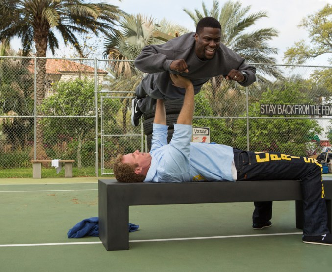 """KEVIN HART (top) as Darnell and WILL FERRELL as James in Warner Bros. Pictures' comedy """"GET HARD,"""" a Warner Bros. Pictures release.  Photo by Patti Perret"""