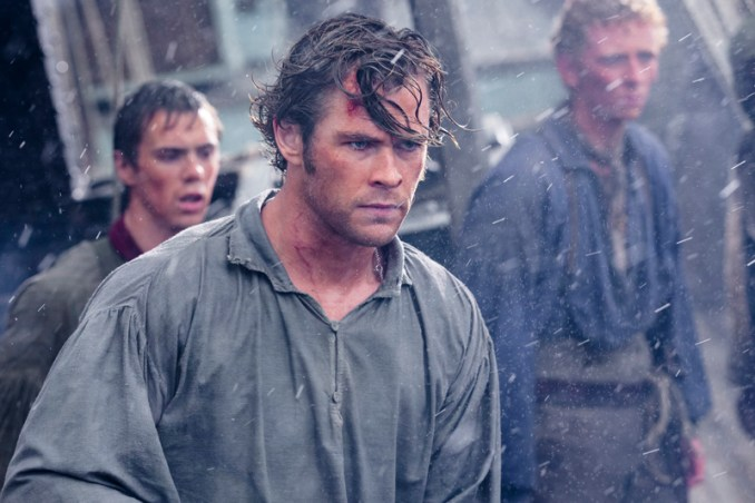"""(L-r) SAM KELLEY as Ramsdell, CHRIS HEMSWORTH as Owen Chase and EDWARD ASHLEY as Barzillai Ray in Warner Bros. Pictures' and Village Roadshow Pictures' action adventure """"IN THE HEART OF THE SEA,"""" distributed worldwide by Warner Bros. Pictures and in select territories by Village Roadshow Pictures.   Photo by Jonathan Prime"""