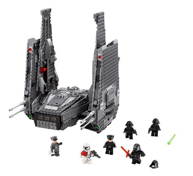 Enter the battle with Kylo Ren?s personal Command Shuttle! This fantastic, highly detailed starship has loads of features, including opening front, rear and bottom storage bays; wing-mounted, spring-loaded shooters and detachable tool racks. And when you?re ready for even more action, activate the amazing extending wing function! It?s time to hunt down the enemy and play out your own great scenes from Star Wars: The Force Awakens! Includes 6 minifigures with assorted accessories: Kylo Ren, General Hux, First Order Officer, 2 First Order Crew and a First Order Stormtrooper Officer.