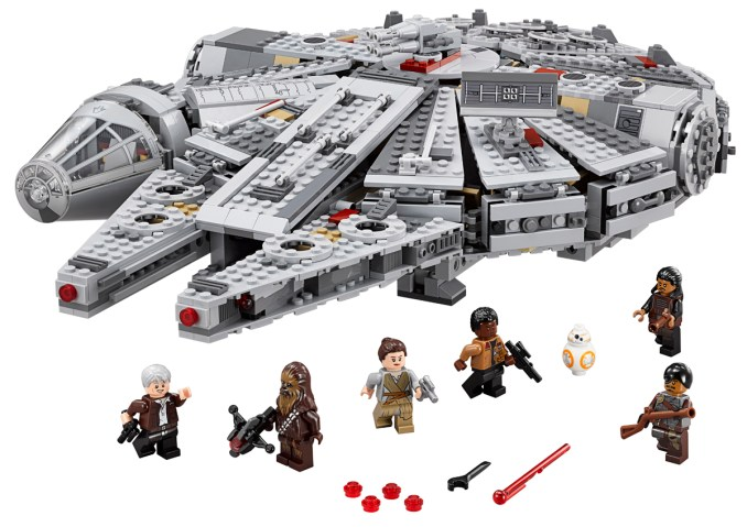 LEGO Star Wars Millenium Falcon..Licensee: LEGO.MSRP: $149.99.Available: September 4. .One of the most iconic starships of the Star Wars saga is back, and it?s leaner and meaner than ever before! As featured in exciting scenes from Star Wars: The Force Awakens, this latest LEGO? version of the Millennium Falcon is crammed with new and updated external features, including an even more streamlined and detailed design, detachable cockpit with space for 2 minifigures, rotating top and bottom laser turrets with hatch and space for a minifigure, dual spring-loaded tools, sensor dish, ramp and an entrance hatch. Open up the hull plates to reveal even more great new and updated details inside, including the main hold with seating area and holochess board, more detailed hyperdrive, secret compartment, extra boxes and cables, and storage for spring-loaded tool. And of course no LEGO Millennium Falcon model would be complete without Han Solo and Chewbacca, as well as other great characters from Star Wars: The Force Awakens. Activate the hyperdrive and set course for LEGO Star Wars fun! Includes 6 minifigures with assorted accessories: Rey, Finn, Han Solo, Chewbacca, Tasu Leech and a Kanjiklub Gang Member, plus a BB-8 Astromech Droid.