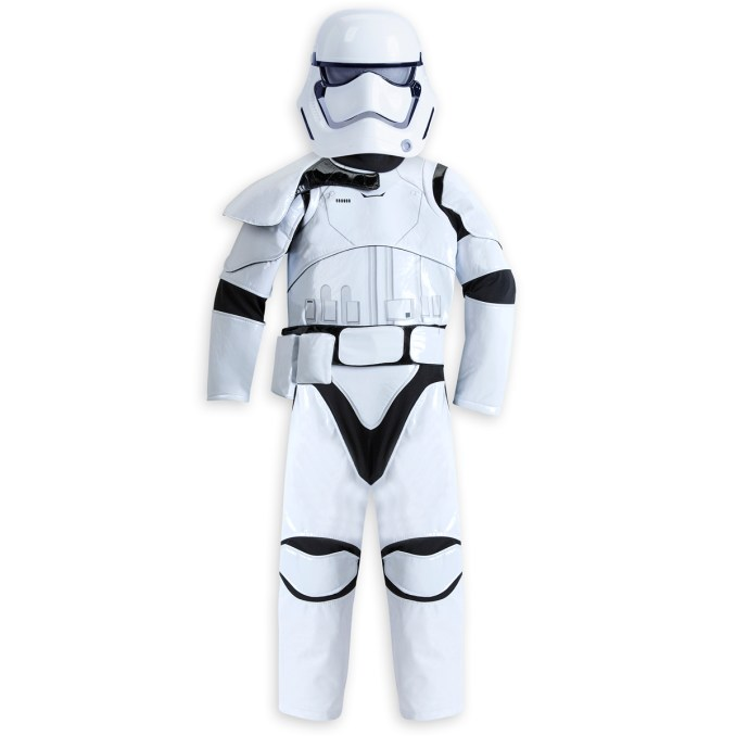 Stormtrooper Costume for Kids - Star Wars: The Force Awakens. .Available at Disney Store.MSRP: $59.95.Available: September 4. .Dress your dedicated soldier in our Star Wars: The Force Awakens Stormtrooper costume including mask, belt with pouch, bodysuit and 3 swappable pauldrons to indicate rank: Officer, Sergeant, and Squad Leader.