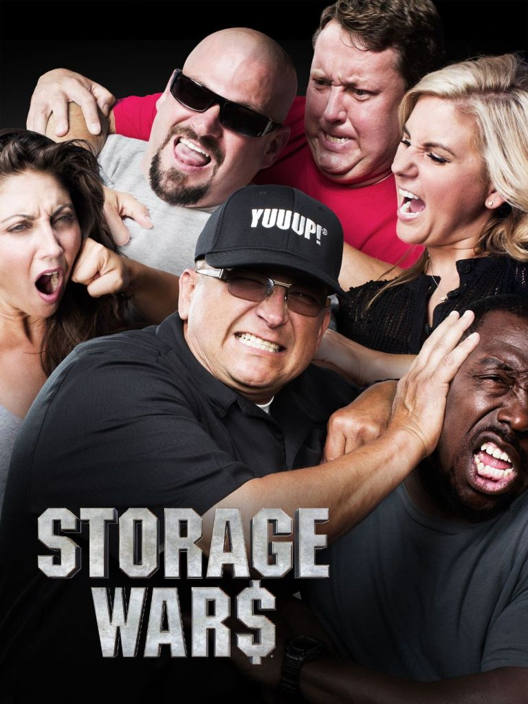 "A group of 6 adults pretending to be fighting; with ""Storage Wars"" superimposed"