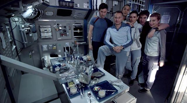 Screenshot of the crew from the 2013 scifi film Europa Report, starring Daniel Wu, Sharlto Copley, Christian Camargo, Karolina Wydra and others. Directed by Sebastián Cordero.
