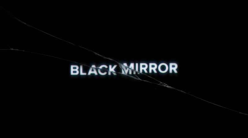 Title card for horror scifi BBC TV series Black Mirror.