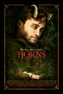 Theatrical poster for the horror fantasy drama film Horns, starring Daniel Radcliffe, Max Minghella, Joe Anderson, Juno Temple and Kelli Garner. Directed by Alexandre Aja.